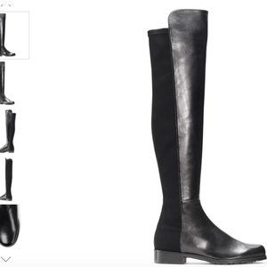 7/10 Stuart Weitzman 5050 Black Nappa Boots